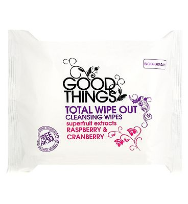 Good Things total wipeout Raspberry and cranberry face wipes 25s