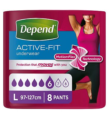 Depend Active-Fit Underwear for Women Large - 8 Pants