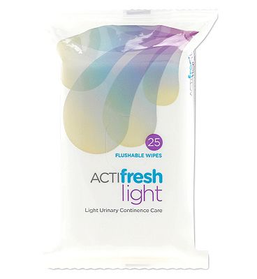 ACTIfresh Light Urinary Continence Care Flushable Wipes - 25 Wipes