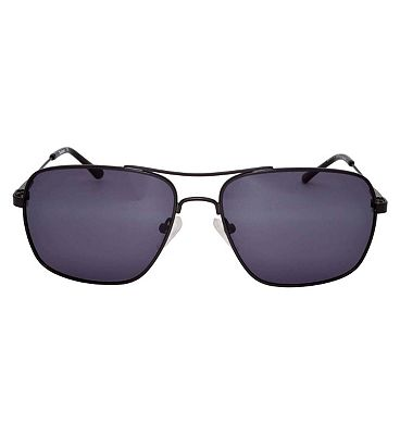 Barbour Gunmetal Aviator Sunglasses with Thin Arm Detail