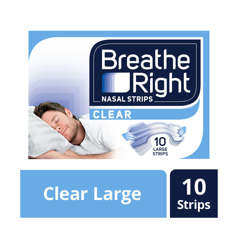 Breathe Right Congestion Relief Nasal Strips Clear Large 10s