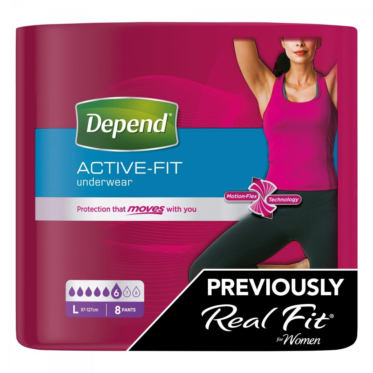 Depend Active Fit Incontinence Underwear for Women - Maximum Absorbency - Large