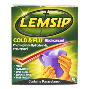 Lemsip Cold & Flu Blackcurrant 10 sachets