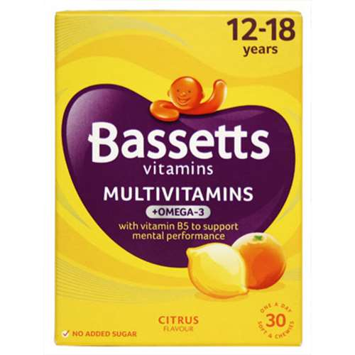 Bassetts Multivitamin + Omega-3 12-18 Years Citrus Flavour 30 Vitamins