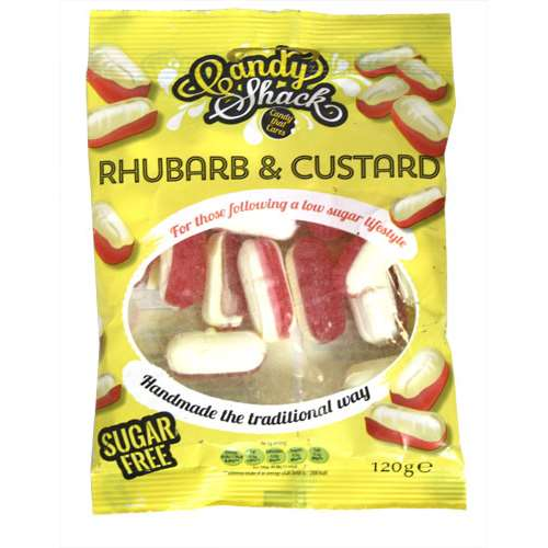 candy shack rhubarb and custard sugar free sweets 120g