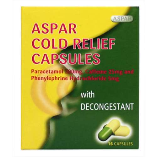 Aspar Cold Relief Capsules With Decongestant - 16 capsules