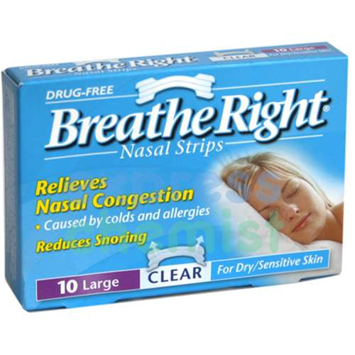 Breathe Right Nasal Strip Clear Large - 10 Pack