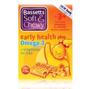 Bassett's Early Health Plus Omega 3 + Vitamins ACD&E Orange & Lemon 30 pastilles