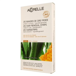 Acorelle Skin Care Body Hair Ready to Use Strips - Aloe Vera & Beeswax 20 Strips