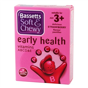 Bassett's Early Health ABCD&E Strawberry 30 pastilles