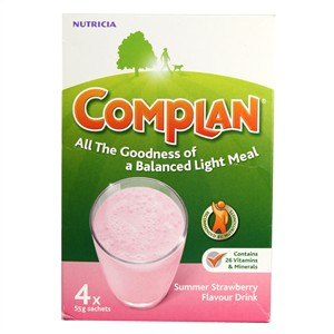 Complan Nutricia Summer Strawberry Flavour Drink 4x55g sachets