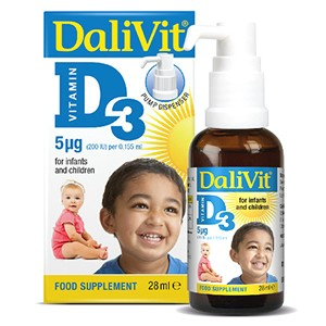 DaliVit Vitamin D3 (200IU) Food Supplement for Infants & Children 28ml