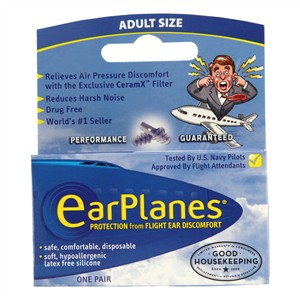 EarPlanes Protection from Flight Ear Discomfort - Adult Size one pair