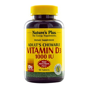Natures Plus Adult's Chewable Vitamin D3 1000 IU - Maui Berry Burst Flavor 90 Caps