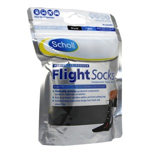 Scholl Flight Socks Black 3-6 1 pair