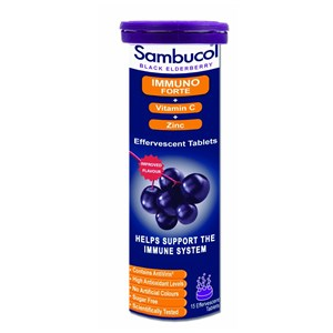 Sambucol Black Elderberry Extract Immuno Forte + Vitamin C + Zinc Effervescent Tablets 15s