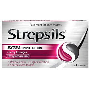 Strepsils Extra Triple Action Cherry Lozenges 24 Lozenges