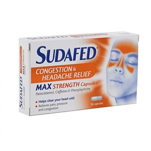 Sudafed Congestion & Headache Relief Max Strenght Capsules 16 Caps