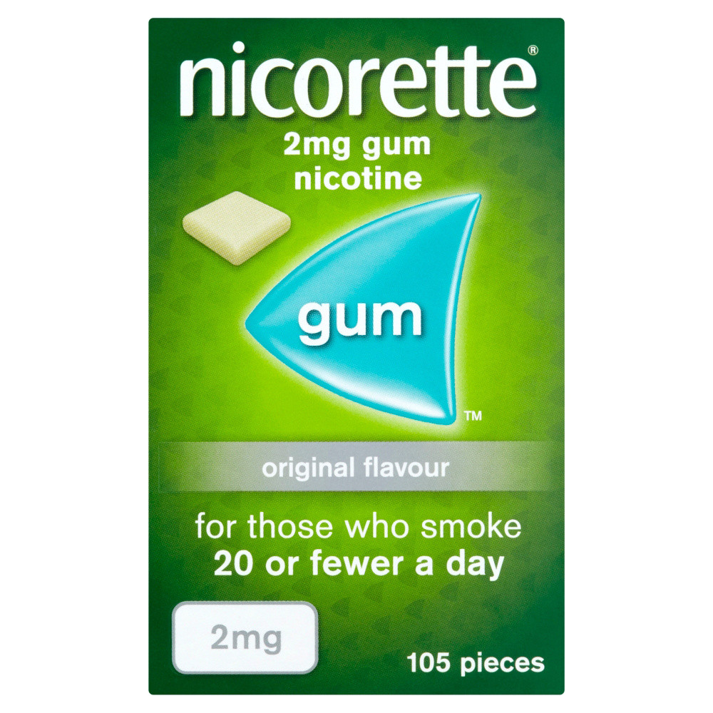 Nicorette 2mg Original Gum - Ten pack - 1050 Pieces
