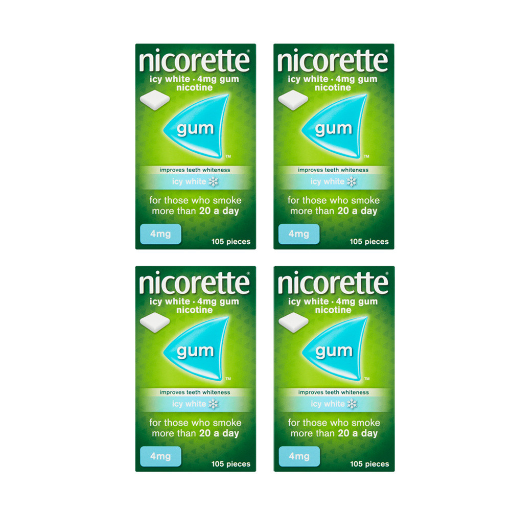 Nicorette 4mg Icy White Gum Four Pack