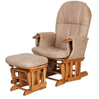 Tutti Bambini Deluxe Reclinable Glider Chair & Stool - Natural Finish