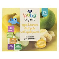 Boots Baby Organic Apple & Banana Fruit Pots with Apple Pieces Stage 2 7months+ 4x100g