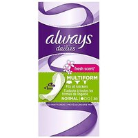 Always Dailies Pantyliners Incredibly Thin Flexistyle With Fresh Scent 30 Liners