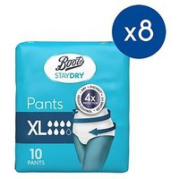 Boots Staydry Pants Extra Large - 80 Pants (8 Pack Bundle)