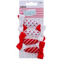 Scunci Baby Red Snap Clips 4pk