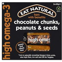Eat Natural Bars with Benefits Chocolate Chunks, Peanuts & Seeds 3 x 45g