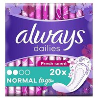 Always Dailies Singles To Go Panty Liners Fresh x 20