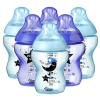Tommee Tippee Closer to Nature Decorated Bottles x 6 (Night Time Blue)