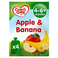 Cow & Gate Apple & Pear Pouches from 4-6m Onwards 4 x 100g (400g)