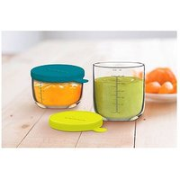 Beaba Glass Portion Storage 2pk Neon 250 ml and Blue 150ml