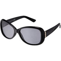Boots Polarised Ladies Shiny Black Oval Sunglasses with Metal Temples