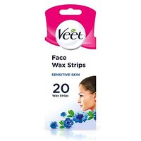 Veet EasyGrip Ready-to-Use Face Wax Strips with Vitamin E & Almond Oil for Sensitive Skin 20 Strips & 4 wipes