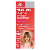Boots Paracetamol 6+ Years Strawberry Flavour Oral Suspension - 80ml
