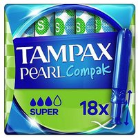 Tampax Compak Pearl Super Applicator Tampons x18