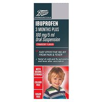 Boots Ibuprofen 3 Months Plus 100mg/5ml Suspension Strawberry Flavour