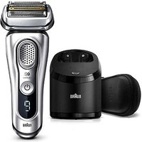 Braun Series 9 9390cc Latest Generation Electric Shaver, Clean&Charge Station, Leather Case, Silver