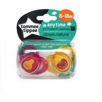 Tommee Tippee Anytime Soothers Pink & Yellow (6-18Month)